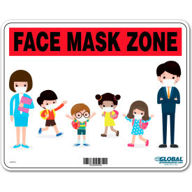 "global industrial™ face mask zone sign, 10""w x 8h, plastic Global Industrial™ Face Mask Zone Sign, 10""W x 8H, Plastic"