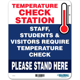 "global industrial™ temperature check station sign, 8""w x 10""h,  plastic  Global Industrial™ Temperature Check Station Sign, 8""W x 10""H,  Plastic"