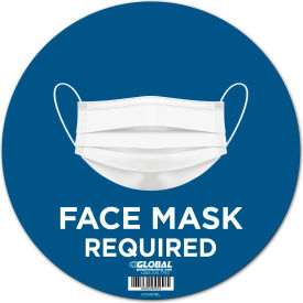 "global industrial™ 12"" round face mask required wall sign, blue, adhesive Global Industrial™ 12"" Round Face Mask Required Wall Sign, Blue, Adhesive"
