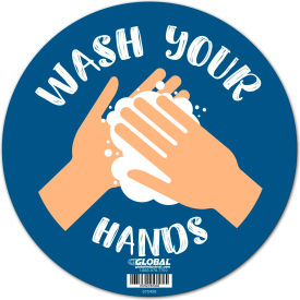 "global industrial™ 12"" round wash your hands sign, wall adhesive Global Industrial™ 12"" Round Wash Your Hands Sign, Wall Adhesive"