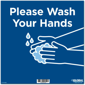 "global industrial™ 12"" square please wash your hands wall sign, blue, adhesive  Global Industrial™ 12"" Square Please Wash Your Hands Wall Sign, Blue, Adhesive"