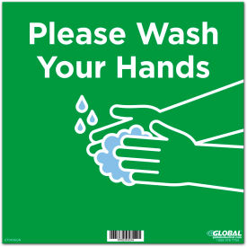 "global industrial™ 12"" square please wash your hands wall sign, green, adhesive Global Industrial™ 12"" Square Please Wash Your Hands Wall Sign, Green, Adhesive"