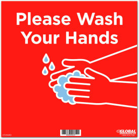 "global industrial™ 12"" square please wash your hands wall sign, red, adhesive Global Industrial™ 12"" Square Please Wash Your Hands Wall Sign, Red, Adhesive"
