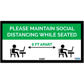 "global industrial™ green maintain social distancing while seated sign, 24""w x 12h, adhesive Global Industrial™ Green Maintain Social Distancing While Seated Sign, 24""W x 12H, Adhesive"