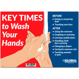 "global industrial™ key times to wash your hands sign,  14""w x 10""h,  wall adhesive Global Industrial™ Key Times to Wash Your Hands Sign,  14""W x 10""H,  Wall Adhesive"