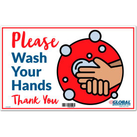 "global industrial™ please wash your hands sign, 16""w x 10""h, wall adhesive Global Industrial™ Please Wash Your Hands Sign, 16""W x 10""H, Wall Adhesive"