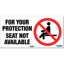 "global industrial™ seat not available adhesive sign, 12""w x 6h, for wall, seat or bench Global Industrial™ Seat Not Available Adhesive Sign, 12""W x 6H, For Wall, Seat or Bench"