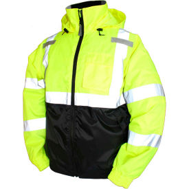 J26112.LG Tingley; J26112 Bomber II Hooded Jacket, Fluorescent Yellow/Green/Black, Large