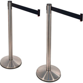 "retracta-belt® prime stainless steel stanchions, 40""h, 10l black retractable belt, 2/pack Retracta-Belt® PRIME Stainless Steel Stanchions, 40""H, 10L Black Retractable Belt, 2/Pack"