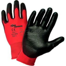 701CRPB/L Zone Defense; Red Nylon Shell Coated Gloves, Black Poly Palm Coat, Large