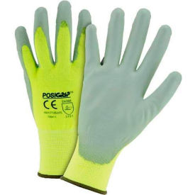 HVY713SUTS/M Touch Screen Hi Vis Yellow Nylon Shell Coated Gloves, Gray PU Palm Coat, Medium