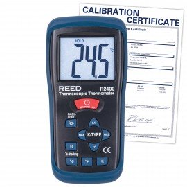 Type K Thermocouple Thermometer, -58 to 2000?F (-50 to 1300?C) and 223 to 2000 Kelvin, includes Traceable Certificate R2400, Reed Instruments, Thermometer, Thermocouple, Thermocouple Thermometer
