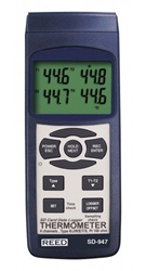 SD Series Thermocouple Thermometer, Data logger, 4 Channel, Type K, J, R, S, E, T and RTD SD-947, Reed Instruments, Thermometer, Thermocouple, Thermocouple Thermometer, Data Logger