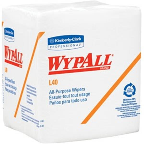 "05701KC WypAll* L40 Wipers, 1/4-Fold, 12 1/2"" x 12"", White, 18 Packs/56 Each"