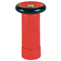 "10NSTBR Adjustable Polycarbonate Fire Hose Nozzle, 1"" NST, Fog/Stream/Shutoff, 30 gpm, Red, 1/Each"