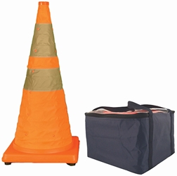 "Pack & Pop Collapsible Cones w/ Light & Feet, 28"", 5/Pkg"