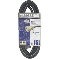 Heavy Duty SJTOW Lighted Extension Cord, 12/3 ga, 15