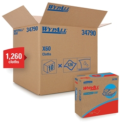 34790KC WypAll* X60 Wipers, Pop-Up Box, White, 10 Boxes/126 Each