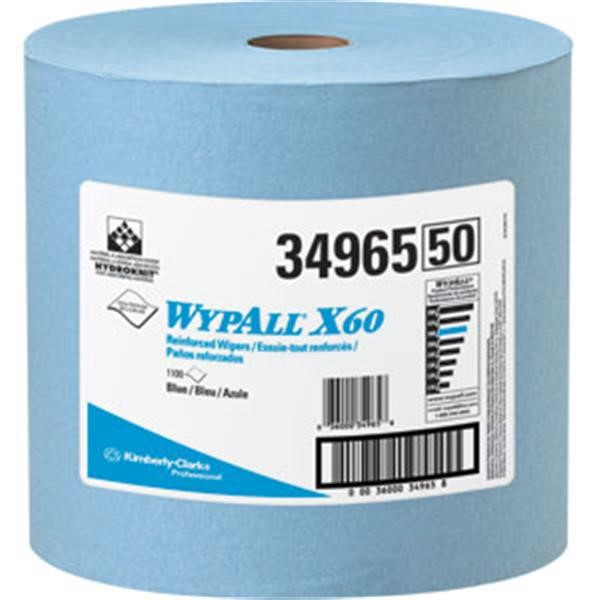 34965KC WypAll* X60 Wipers, Jumbo Roll, Blue, 1100/Roll