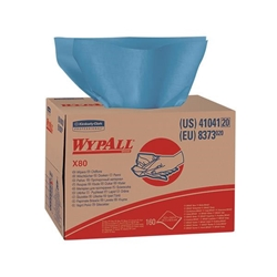41041KC WypAll* X80 Towels, Brag Box, Blue, 160/Box