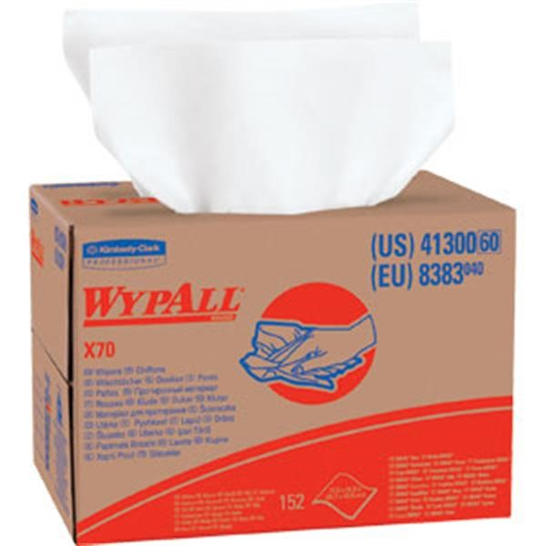 "41300KC WypAll* X70 Wipers, Brag Box, 12 1/2"" x 16 13/16"", White, 152/Box"