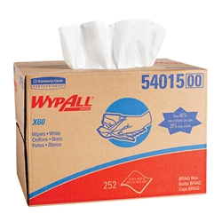 54015KC WypAll* X60 Wipers, Brag Box, White, 252/Box