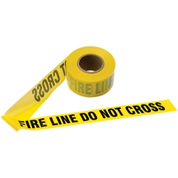 "Presco Barricade Tape, 2.5 mil, ""Fire Line Do Not Cross"", Yellow, 1/Roll"