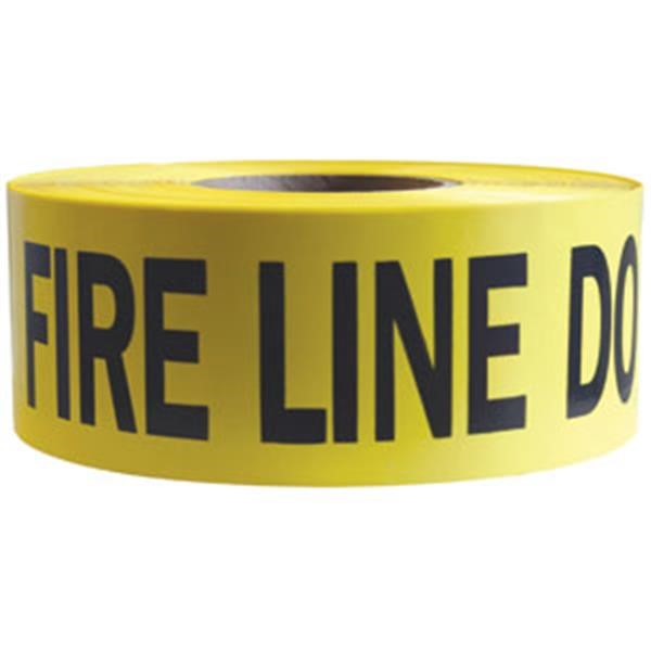 "Presco Barricade Tape, 2.5 mil, ""Fire Line Do Not Cross"", Yellow, 8/Case"