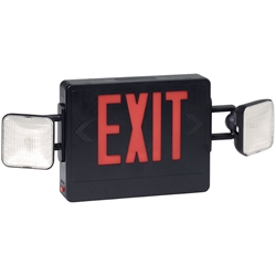 Combination Red Exit/Lighting Unit, Black