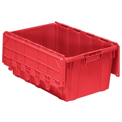 "AR2717120202000AM Buckhorn® Attached Lid Container, Textured Bottom, 27""L x 17""W x 12""H, Red, 1/Each"