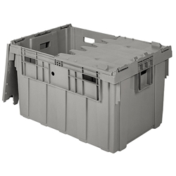 "AS3424201201000AM Buckhorn® Attached Lid Container, Smooth Bottom w/ Open Handholds, 34""L x 24""W x 20""H, Light Gray, 1/Each"