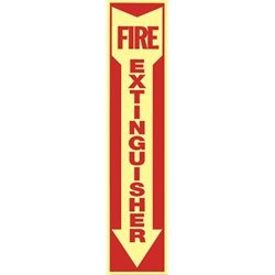 7109LGFSBR Fire Extinguisher Arrow Glow-in-the-Dark Vinyl Sign
