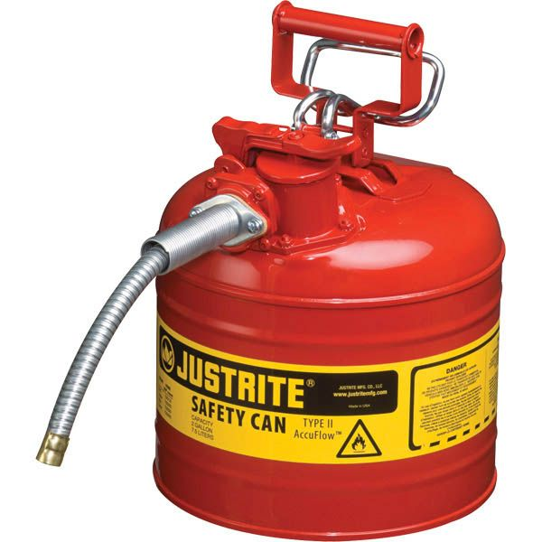 "Justrite® Type II Safety Can, 2 gal, 5/8"" Hose, Red"