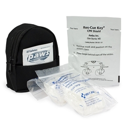 Mini Backpack w/ Latex-Free Face Shield, 4 Exam Gloves, Antimicrobial Wipe, Keychain, & Belt Loop