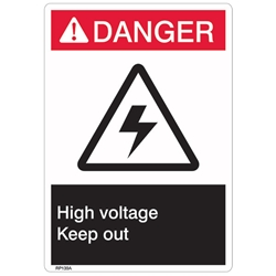 "RP139ABR ANSI Z535 Rigid Plastic ""Danger High Voltage"" Sign, 1/Each"