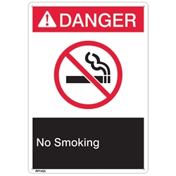 "RP140ABR ANSI Z535 Rigid Plastic ""Danger No Smoking"" Sign, 1/Each"
