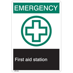 "RP144ABR ANSI Z535 Rigid Plastic ""Emergency First Aid…"" Sign, 1/Each"