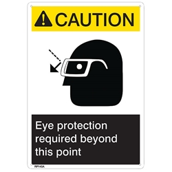 "RP145ABR ANSI Z535 Rigid Plastic ""Caution Eye Protection..."" Sign, 1/Each"