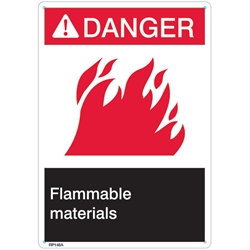 "RP146ABR ANSI Z535 Rigid Plastic ""Danger Flammable Materials"" Sign, 1/Each"