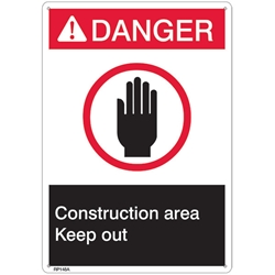 "RP148ABR ANSI Z535 Rigid Plastic ""Danger Construction Area"" Sign, 1/Each"