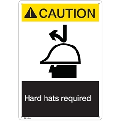 "RP151ABR ANSI Z535 Rigid Plastic ""Caution Hard Hat Required"" Sign, 1/Each"
