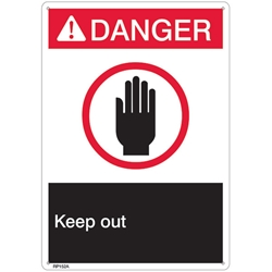 "RP152ABR ANSI Z535 Rigid Plastic ""Danger Keep Out"" Sign, 1/Each"