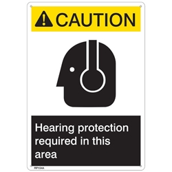 "RP154ABR ANSI Z535 Rigid Plastic ""Caution Hearing Protection..."" Sign, 1/Each"