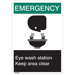 "RP176ABR ANSI Z535 Rigid Plastic ""Emergency Eye Wash…"" Sign, 1/Each"