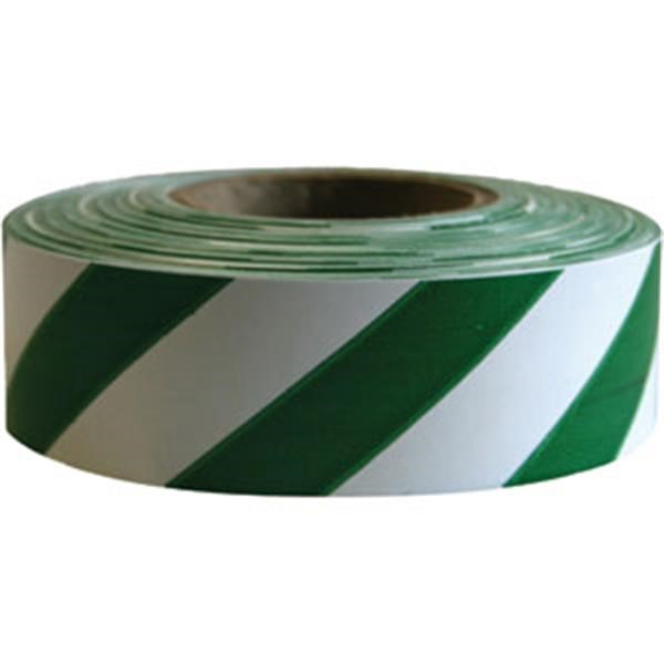 "Presco Patterned Roll Flagging, Standard, 1 3/16"" x 300, White/Green"